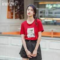 茵曼短袖T恤2020年新款女夏�A�I��松�棉百搭印花文�小清新上衣【1802146】
