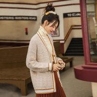 茵曼针织毛衣开衫女冬新款花纱外套提花V领温柔田园风外穿【1804632】