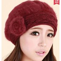 冬季帽子女韩版时尚女帽冬天女士帽子秋冬贝雷帽兔毛帽子保暖潮款