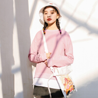 卫衣 女士印花字母假两件长袖套头衫2020秋季新款韩版时尚女式休闲洋气卫衣女装打底衫