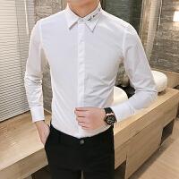 大码白色长袖衬衫村杉纯色工装寸衫男士衬衣修身衣领刺绣商务正装