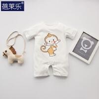 婴儿连体衣服宝宝新生儿满月2春季短袖潮款外出服季新年
