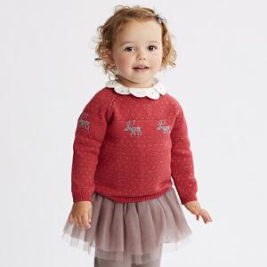davebella戴维贝拉秋季女童针织衫 女宝毛衣套头衫DB5518