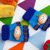男女宝宝款写字露指手套3-6岁半指儿童手套可爱秋冬保暖