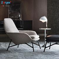 北欧单人沙发椅网红铁艺设计师休闲椅懒人躺椅沙发阳台老虎椅美式 灰色 麻布