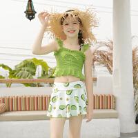 儿童泳衣女童连体平角裙式女孩中大童少女分体学生泳装