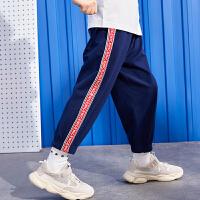 【99选3】巴拉巴拉旗下 巴帝巴帝2019夏新款男童中大童侧边撞色运动长裤儿童休闲裤