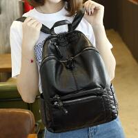 女士双肩背包女潮新款包包韩版妈咪包百搭双肩包女书包旅行包 黑色洗水皮