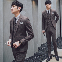 潮流西服套装男韩版修身商务休闲西装帅气型男婚礼礼服西装三件套