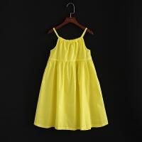 童装新款连衣裙夏吊带背心裙黄色连衣裙沙滩裙棉麻连衣裙公主裙夏