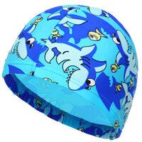 儿童泳帽 男女童时尚可爱卡通公主长发护耳中小童花布 游泳帽