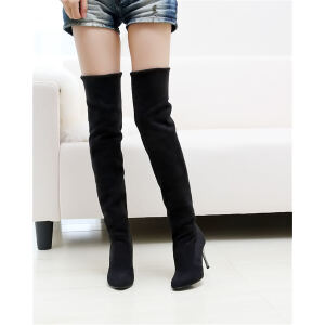 ELEISE美国艾蕾莎新品秋冬171-2-7韩版磨砂绒面高细跟女士过膝长靴