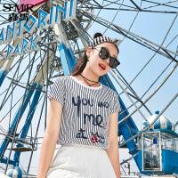 森马短袖T恤女2017夏装新款条纹显瘦时尚潮印花半袖上衣学生韩版