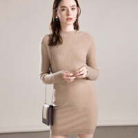 羊绒衫女中长款半高领套头毛衣秋冬修身保暖针织打底裙