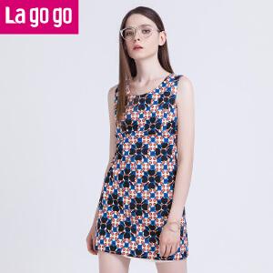 Lagogo/拉谷谷新款抽象印花图案百搭连衣裙