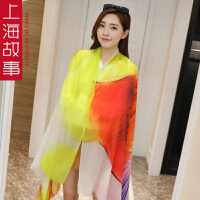 上海故事韩版羊绒印花戒指绒长款春秋季披肩两用女百搭围巾