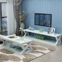 钢化玻璃电视柜简约现代茶几组合套装烤漆欧式客厅柜小户型电视柜 组装