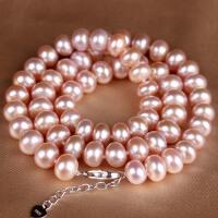 近圆形粉色珍珠项链 001039
