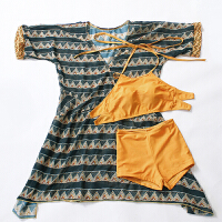 泳衣女泳装夏季韩国小香风遮肚显瘦性感罩衫系带比基尼三件套 姜黄色