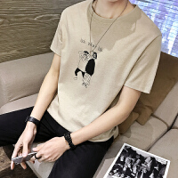 夏季男士圆领短袖T恤男韩版潮修身2018青年印花体恤衫男半袖上衣