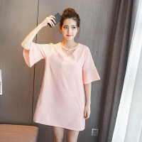 孕妇连衣裙夏 中长款休闲 宽松3-9个月怀孕期粉色夏款T恤裙喇叭袖 粉红色