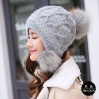 毛线帽子女时尚双层加绒保暖护耳针织帽潮甜美可爱加厚套头帽