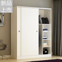 衣柜推拉门简约现代经济型组装板式2门大衣柜实木质卧室衣橱定制 160+顶柜 颜色备注 2门