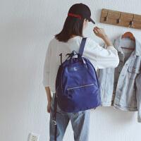 韩版潮牛津布中大学生书包纯色简约双肩背包女帅气旅行背包