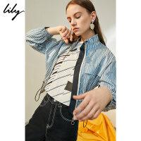 【25折到手价:169.75元】 Lily春新款女装帅气立领抽绳收腰蓝白条纹短外套118300C3606