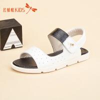 红蜻蜓童鞋新款镂空透气低跟露趾男女童儿童凉鞋511F62628Z