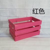 实木箱子储物箱长方形订做家用超大装饰水果旧木复古收纳小大木箱 红色 内加固二层36*22*18cm