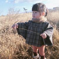 英伦灰格子加绒斗篷 女宝宝披风斗篷秋冬外出加厚外套女童宝宝