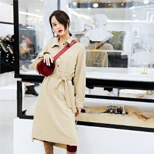 七格格港味复古chic风连衣裙2018春装新款bf风韩版显瘦宽松中长款裙子女