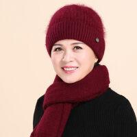 老太太保暖兔毛针织帽 老年人帽子女奶奶毛线帽 新款中老年妈妈帽围巾