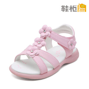 SHOEBOX/鞋柜 夏季新款女童鞋甜美可爱花朵魔术贴女童凉鞋