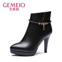 【到手109】【加绒】戈美其冬季新品高跟鞋欧美时装靴短筒加绒棉鞋优雅女短靴尖头皮鞋