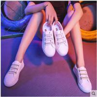 魔术贴小白鞋女秋季新款韩版百搭一脚蹬懒人鞋厚底学生帆布鞋