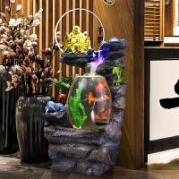 新中式禅意落地喷泉流水摆件创意鱼缸加湿器客厅室内家居装饰品