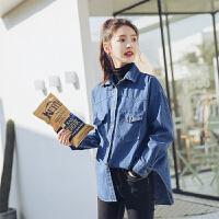 牛仔外套女秋季新款bf风宽松牛仔衬衣修身黑色高领打底上衣两件套