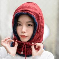 加厚包头护耳围脖一体连体帽帽子女韩版潮骑车防风针织毛线帽