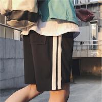 夏季港风男士五分直筒宽松运动短裤青少年卫裤男条纹中裤