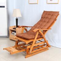 老爷椅子摇椅懒人躺椅大人折叠创意午睡家用阳台实木休闲逍摇竹椅 +垫子