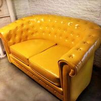【满减优惠】美式复古小户型客厅皮艺沙发双人位皮质酒吧沙发咖啡厅办公沙发