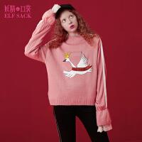 【2件3折】妖精的口袋小王子相册冬装新蕾丝印花高领拼接织带毛衣女