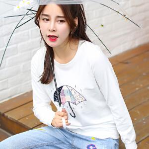 新款长袖女雨伞刺绣花t恤韩版宽松百搭打底衫秋冬季女士上衣服