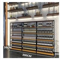 美式乡村铁艺实木落地酒架酒柜咖啡酒吧创意商用红酒展示架置物架