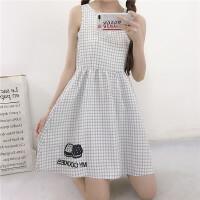 夏季女装韩版两件套学生学院风格子中长裙印花T恤