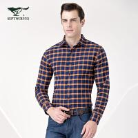 七匹狼长袖衬衫男士商务格型长袖休闲衬衫 新款长袖衬衣