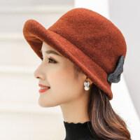 羊毛呢帽子女 中年妈妈小礼帽女士中老年人老人帽子奶奶保暖