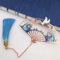 故宫纪念品云鹤古典流苏折扇书签中国风古风送人生日礼物创意礼品